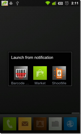 Launch-from-notification-pop-up