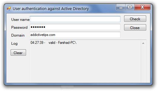 User authentication against Active Directory