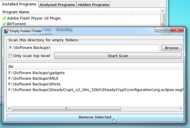 remove empty folders