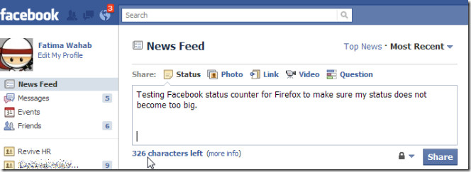 Facebook status counter