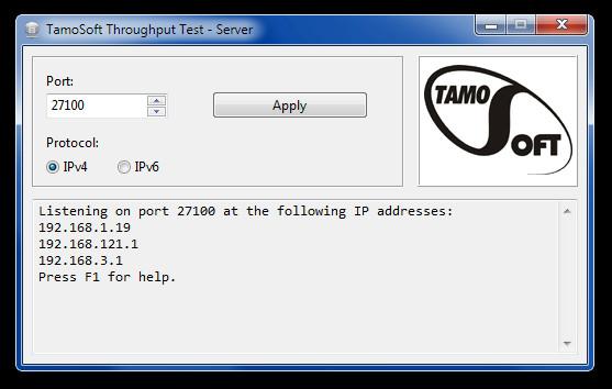 TamoSoft Throughput Test - Server