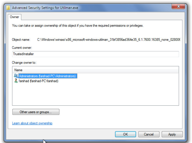 Advanced Security Settings for Utilman.exe