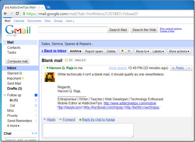 Gmail Photo Mail view