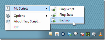 configure tray script