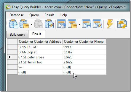 easy query builderm execute