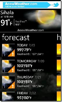 AccuWeather Forecast Weekly