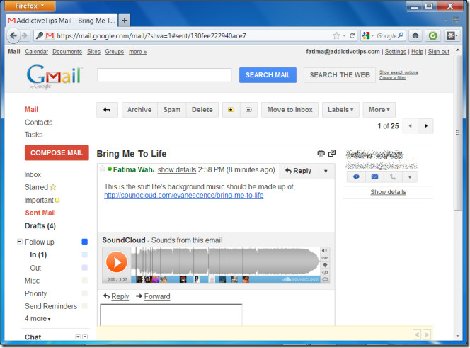 SoundCloud Sounds in Google Mail