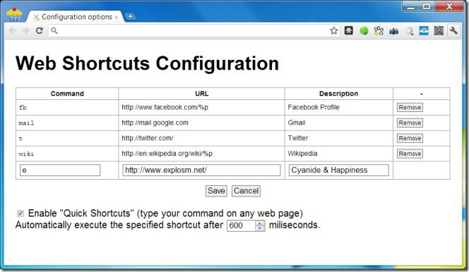Web Shortcuts options