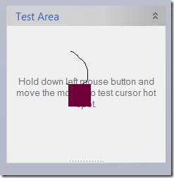 cursor test area