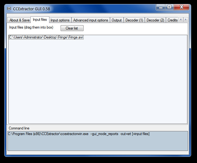 CCExtractor GUI 0.58