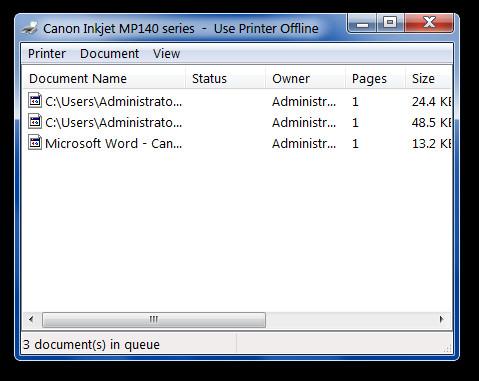 Canon Inkjet MP140 series  -  Use Printer Offline
