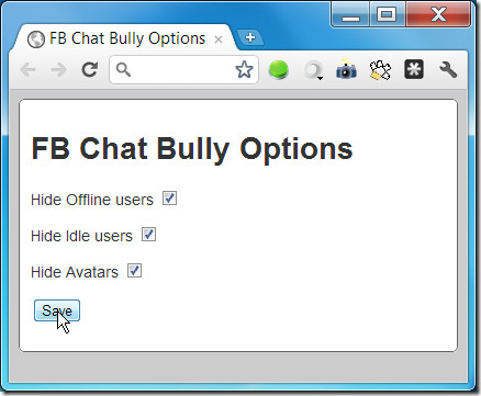 FB Chat Bully Options