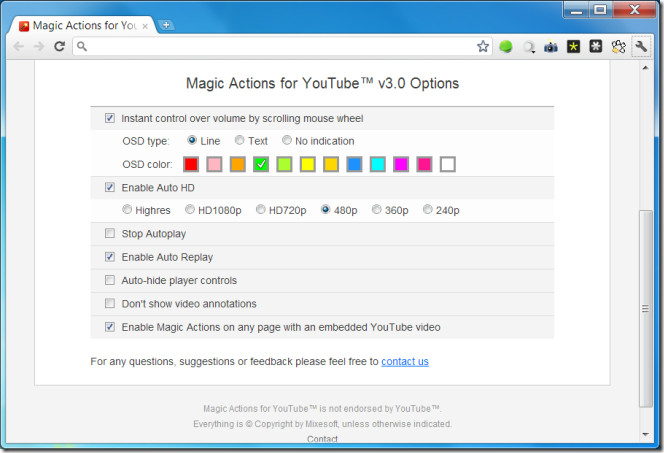 Magic Actions for YouTube™ Options