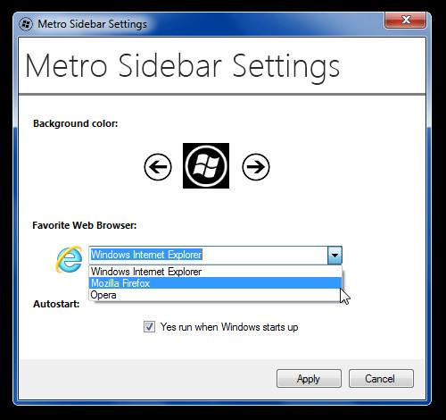 Metro Sidebar Settings