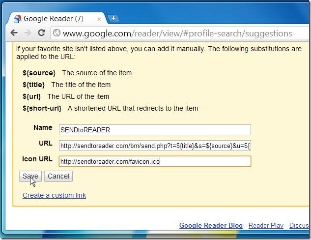 sendtoreader google reader