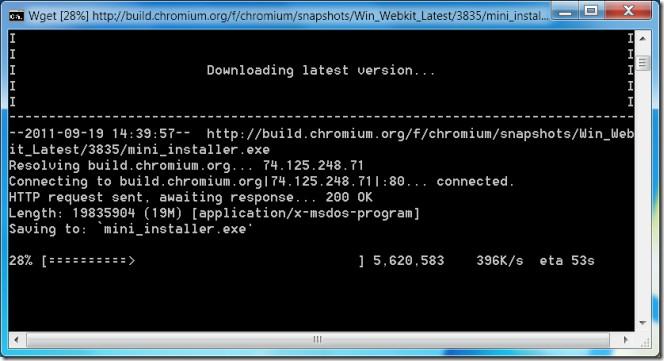 Chromium Auto Updater downloading
