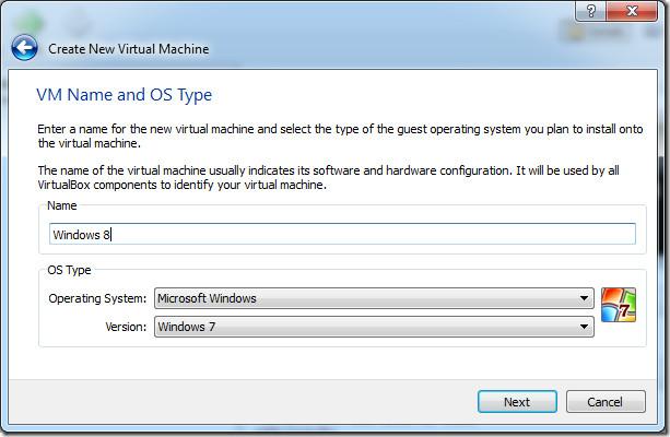 Create new virtual machine name