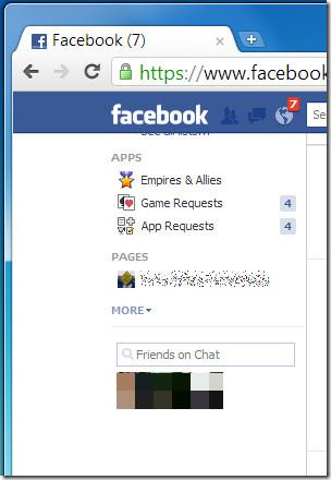 Facebook top bar
