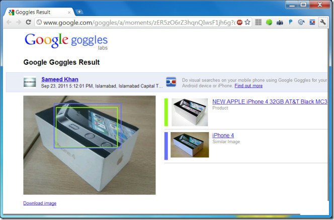 My Search History from Google Goggles results