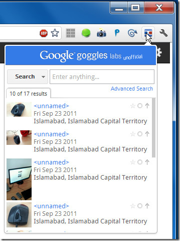 My Search History from Google Goggles