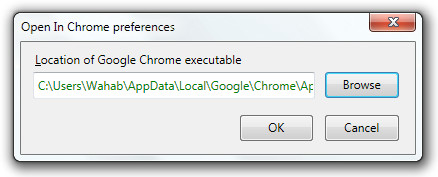 Open In Chrome preferences