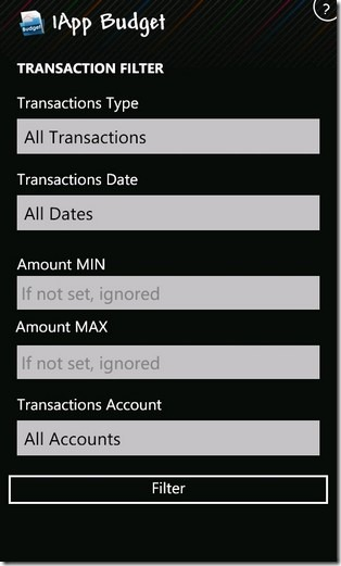 Transaction Filters