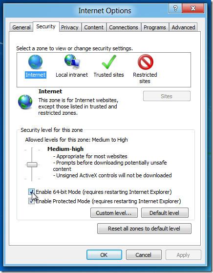 Windows 8 Internet Explorer 64-bit