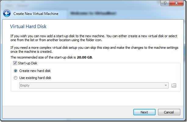 create new virtual hard disk