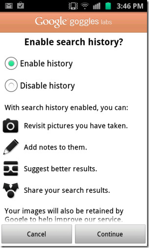 enable search history