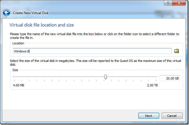 set virtual hard disk size
