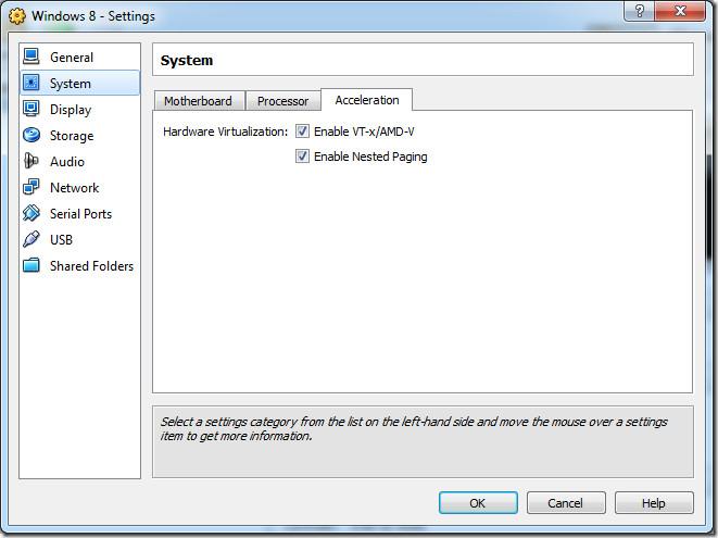 virtual acceleration settings