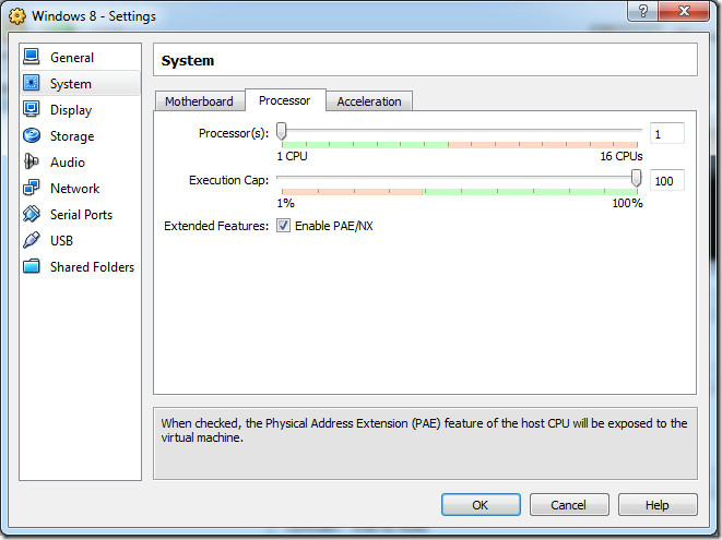 virtual processor settings