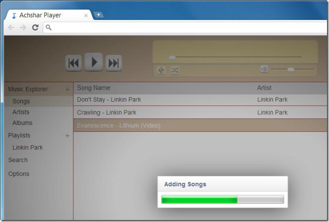 Achshar Player adding songs