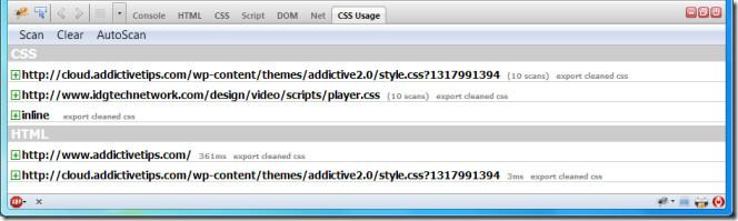 CSS Usage view in firebug