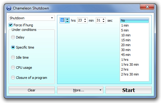 Chameleon Shutdown Time