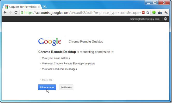 Chrome Remote Desktop BETA access