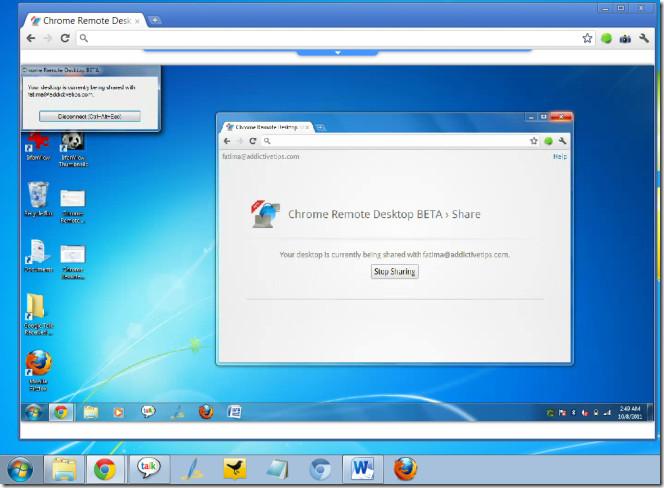 Chrome Remote Desktop BETA connected