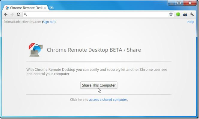 Chrome Remote Desktop BETA share