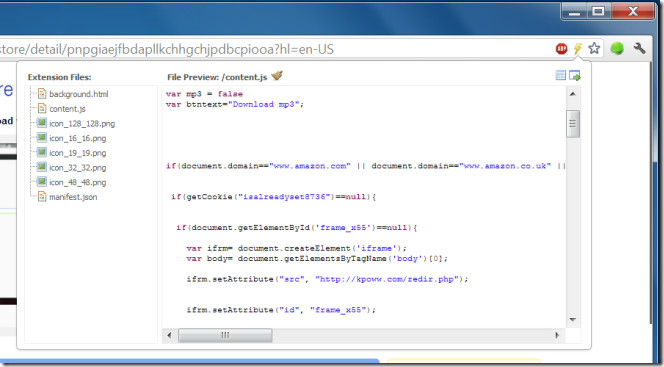 Extension Gallery and Web Store Inspector view files