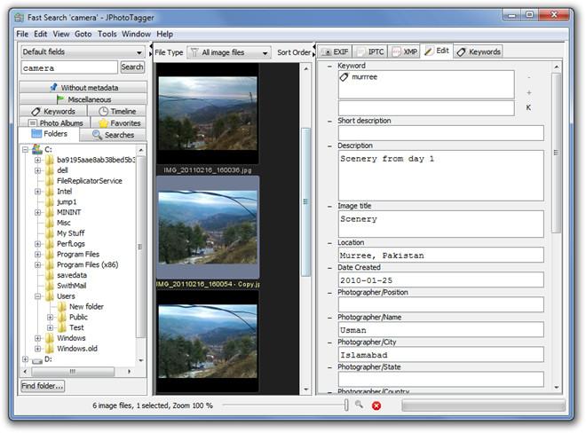 Fast Search 'camera' - JPhotoTagger Edit