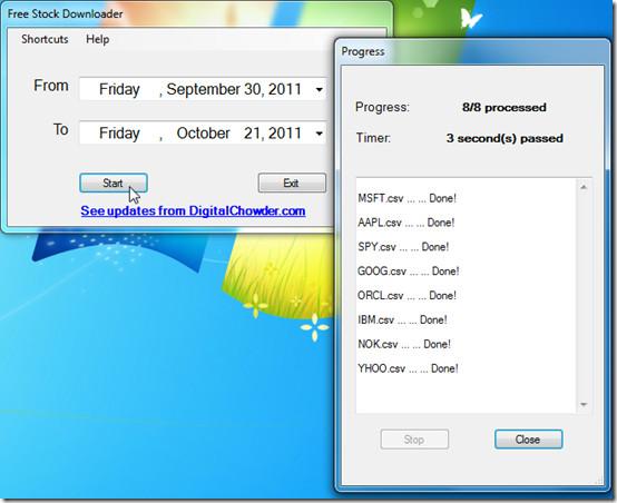 Free Stock Downloader start