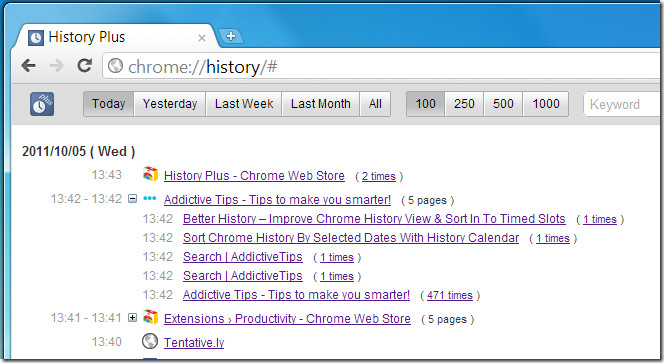 History Plus visited pages