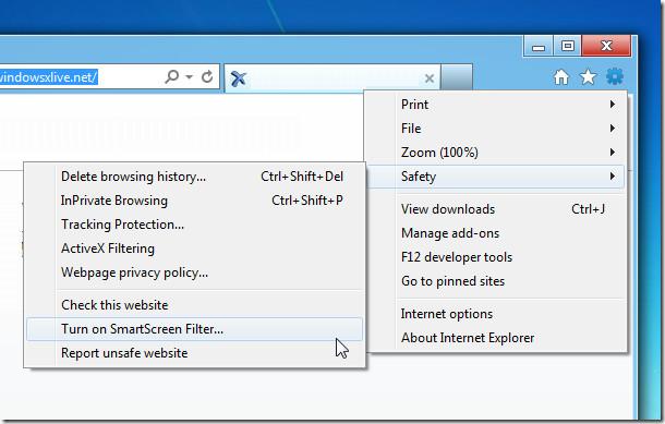IE SmartScreen Filter