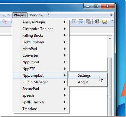 NPP Jumplist Settings