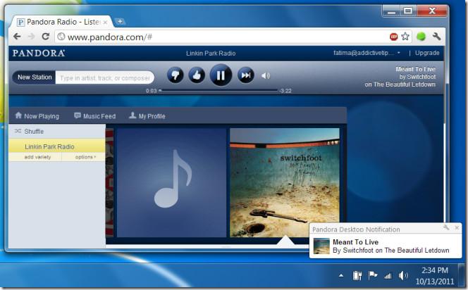 Pandora Desktop Notification