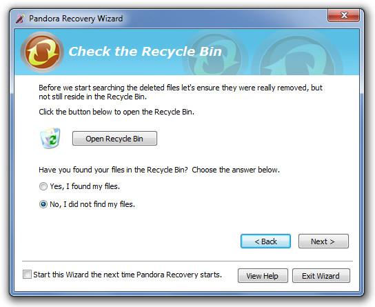 Pandora Recovery Wizard 1