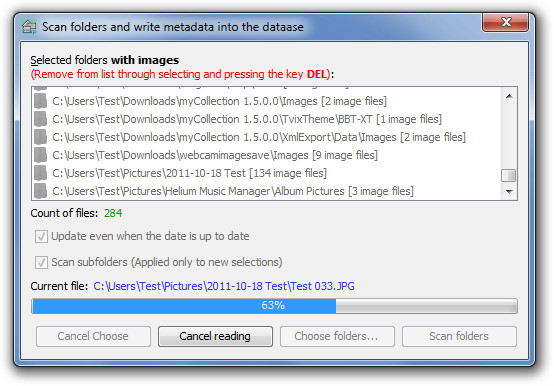 Scan folders and write metadata into the dataase