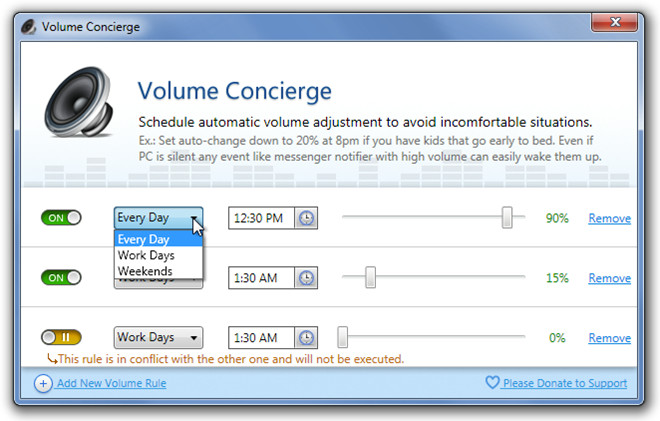 Volume Concierge Multiple Schedules