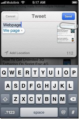 Webpage Tweet iOS 5