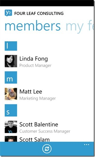 Yammer Members Page
